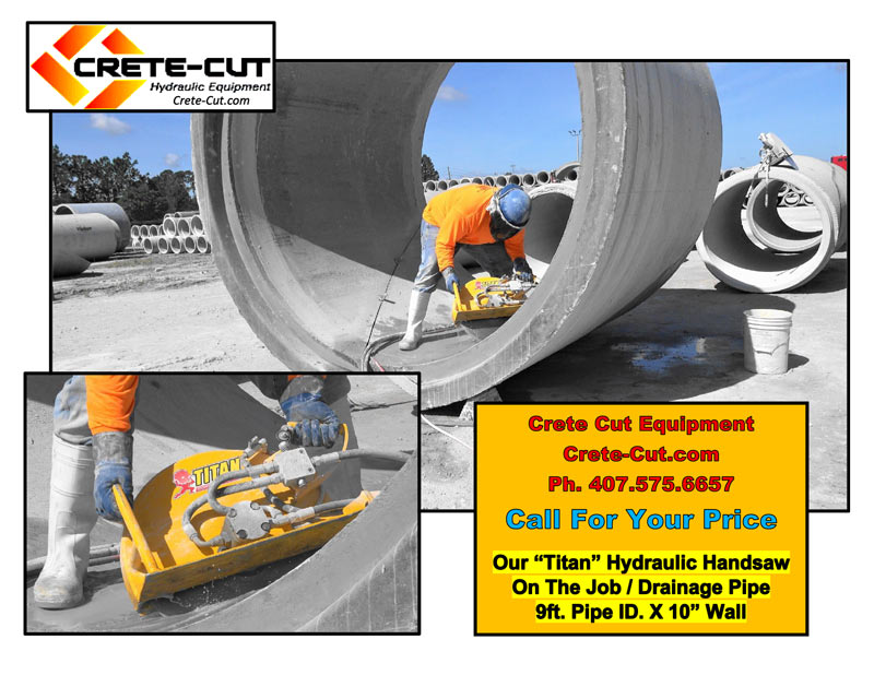 hydraulic handsaw cutting 9' concrete pipe large image
